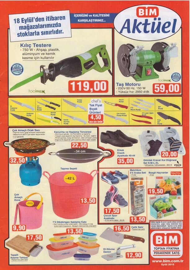BİM Aktüel Ürünler 18 Eylül 2015 Katalogu - Kılıç Testere - Taş Motoru