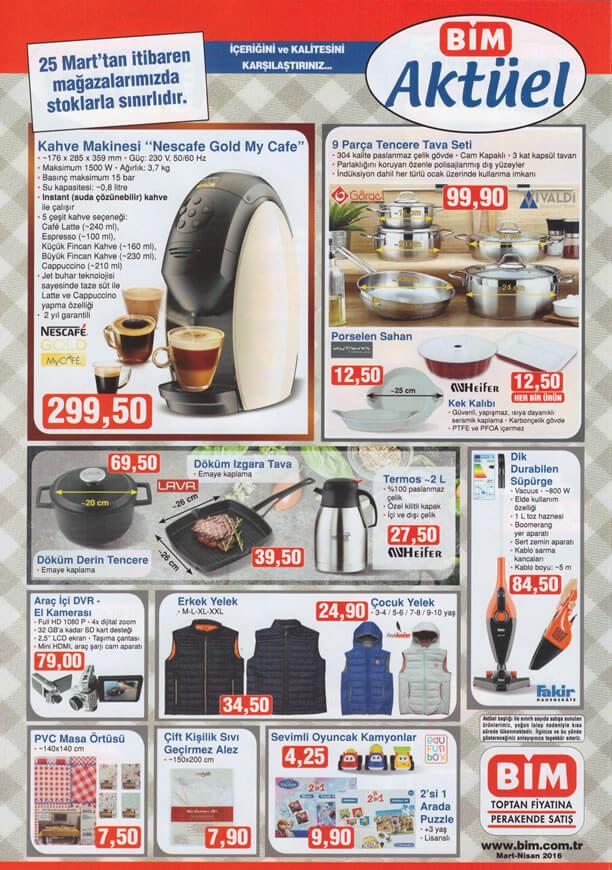 BİM Aktüel Ürünler 25 Mart 2016 Katalogu - Nescafe My Gold Cafe Kahve Makinesi
