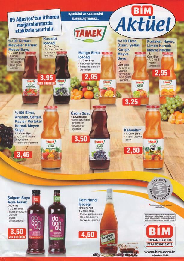 BİM Fırsat Ürünleri 9 Ağustos 2016 Katalogu - Tamek Meyve Suyu