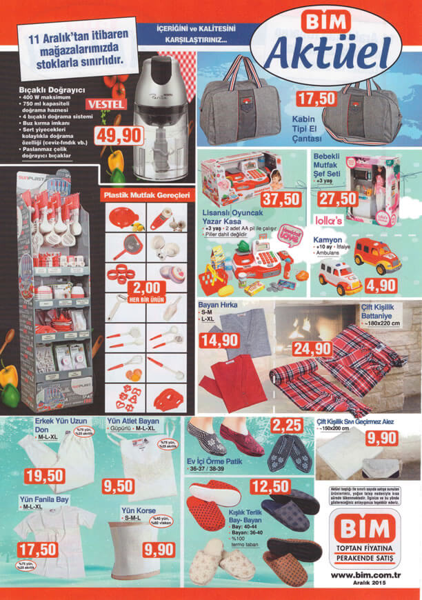 BİM Fırsatları 11 Aralık 2015 Cuma Katalogu - Vestel Bıçaklı Doğrayıcı