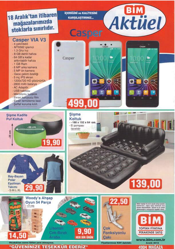 BİM Market 18 Aralık 2015 Fırsatları - Casper VIA V3