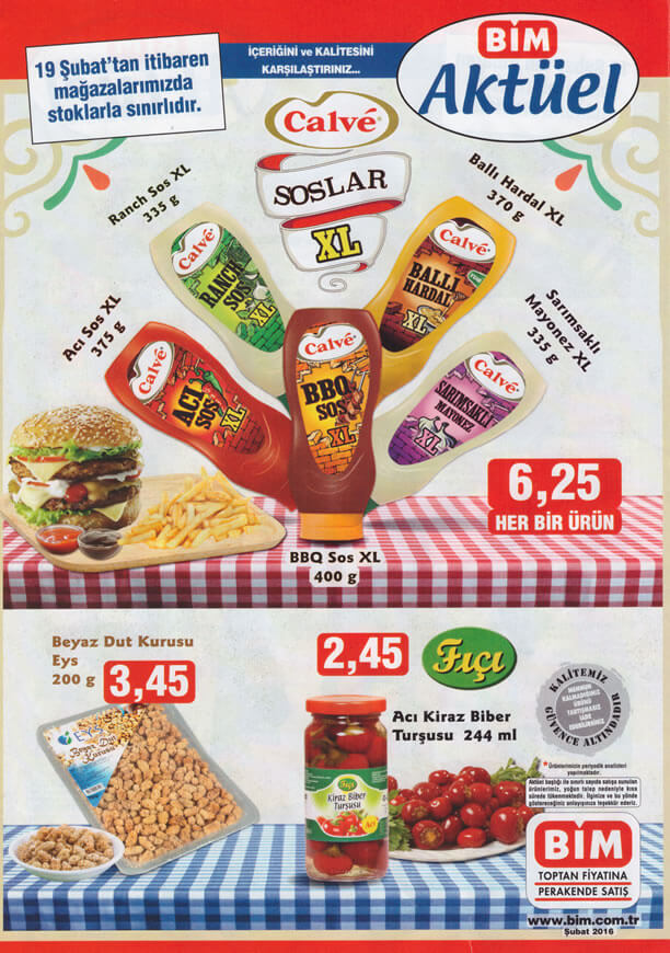 BİM Market 19-25 Şubat 2016 Fırsat Katalogu - Calve Soslar XL