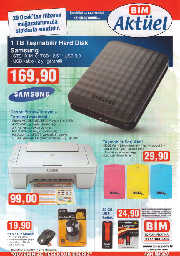 BİM Market 29 Ocak 2016 Fırsat Ürünleri Broşürü - Samsung 1 TB HDD