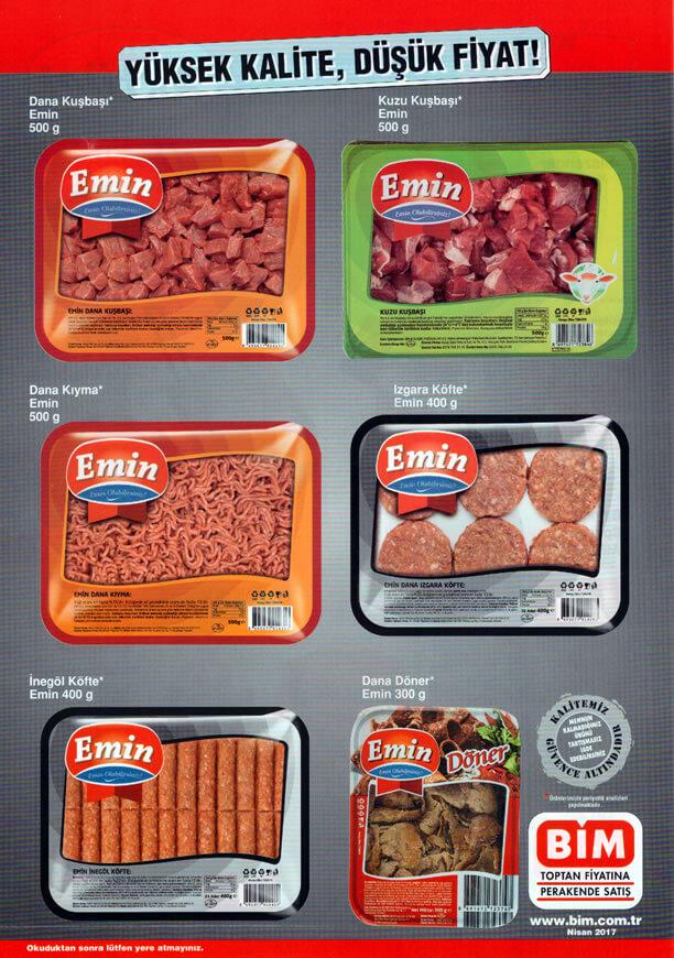 BİM Market Emin Et ve Et Ürünleri - Nisan 2017