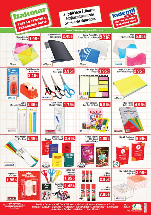 HAKMAR Market 8-14 Eylül 2016 Katalogu - Kırtasiye Ürünleri