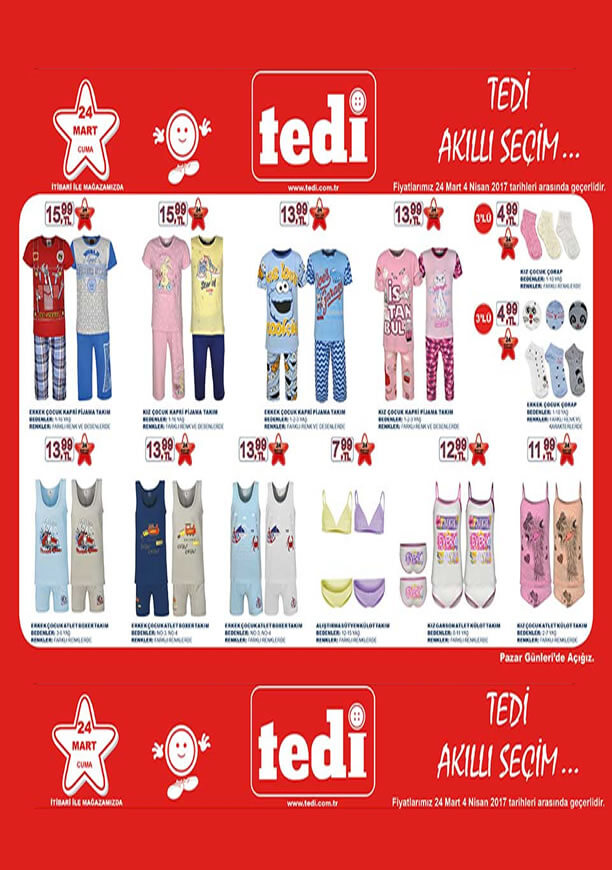 TEDİ 24 Mart 2017 Katalogu - Çocuk Kapri Pijama Takım