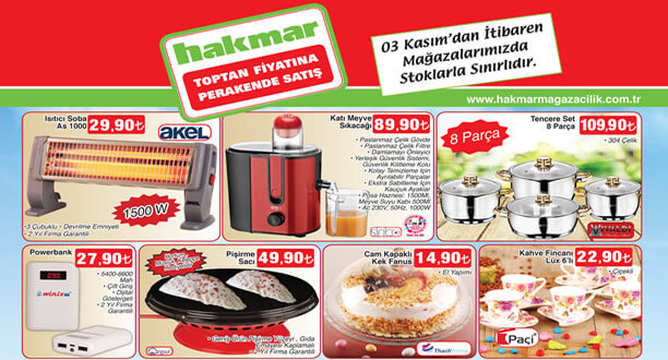 HAKMAR 3 Kasım 2016 Aktüel Ürünler Katalogu